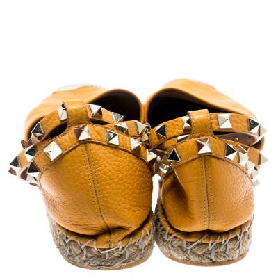 Valentino Yellow Leather Rockstud Ankle Wrap Espadrilles Size 37 185986 - 5