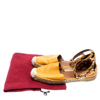 Valentino Yellow Leather Rockstud Ankle Wrap Espadrilles Size 37 185986 - 8