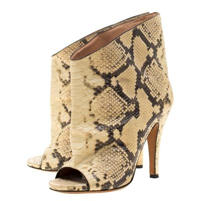 Maison Margiela Beige Faux Python Leather Slouch Peep Toe Ankle Boots Size 35.5 186795 - 3