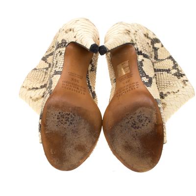 Maison Margiela Beige Faux Python Leather Slouch Peep Toe Ankle Boots Size 35.5 186795 - 5