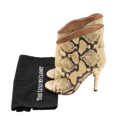 Maison Margiela Beige Faux Python Leather Slouch Peep Toe Ankle Boots Size 35.5 186795 - 7