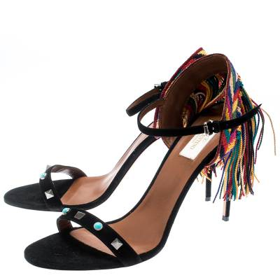 Valentino Black Suede Rolling Rockstud Embroidered Fringed Ankle Strap Open Toe Sandals Size 41 187221 - 4
