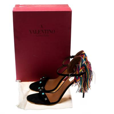 Valentino Black Suede Rolling Rockstud Embroidered Fringed Ankle Strap Open Toe Sandals Size 41 187221 - 8