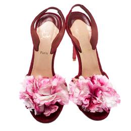 Christian Louboutin Red Velvet Flower Detail Slingback Sandals Size 38.5 193979