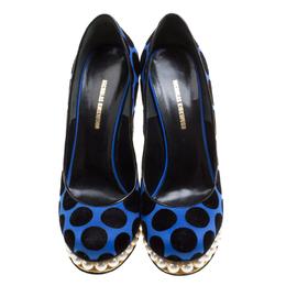 Nicholas Kirkwood Blue/Black Polka Dot Casati Faux Pearl Platform Pumps Size 39 168299