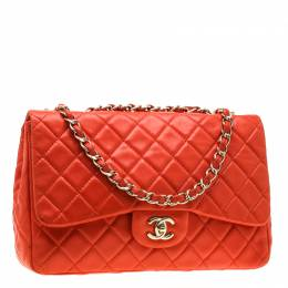 Chanel Coral Orange Quilted Leather Jumbo Classic Single Flap Bag 198351