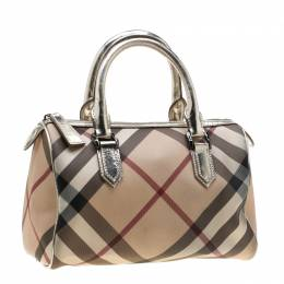 Burberry Silver Nova Check PVC and Leather Chester Boston Bag 225871