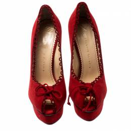 Charlotte Olympia Red Suede Daphne Scalloped Trim Peep Toe Platform Pumps Size 40.5 199104