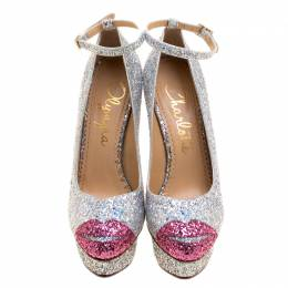 Charlotte Olympia Silver Coarse Glitter Kiss Me Dolores! Ankle Strap Platform Pumps Size 40 199088
