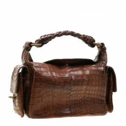 Bottega Veneta Brown Crocodile Cocker Shoulder Bag 198457