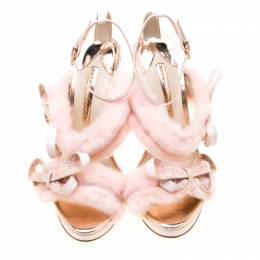 Sophia Webster Pink Faux Fur And Leather Bella Bow Embellished Ankle Strap Sandals Size 38.5 206363