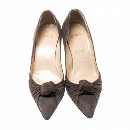 Christian Louboutin Dark Grey Suede Knot Francaise Pumps Size 38.5 207785
