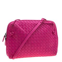 Bottega Veneta Pink Intrecciato Leather Nodini Crossbody Bag 208085