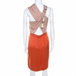 Gucci Orange and Beige Colorblock Silk Tassel Tie Detail Dress M 208562