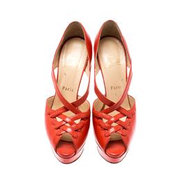 Christian Louboutin Orange Leather Platform Sandals Size 38.5 208881
