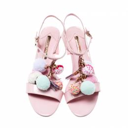 Sophia Webster Pale Pink Patent Leather Jada T Strap Pom Pom Sandals Size 38 207016