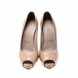 Le Silla Beige Python Embossed Leather Peep Toe Pumps Size 38.5 209118