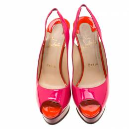 Christian Louboutin Multicolor Patent Leather Private Number Peep Toe Slingback Sandals Size 38 207996