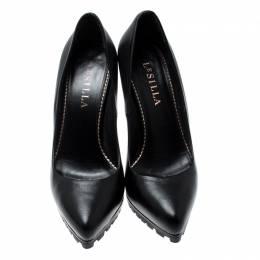Le Silla Black Leather Platform Pumps Size 36 209491