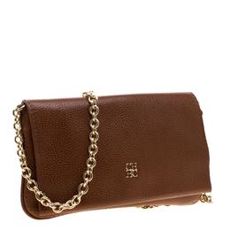 Carolina Herrera Tan Leather Chain Flap Shoulder Bag 193899