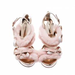Sophia Webster Pink Faux Fur And Leather Bella Bow Embellished Ankle Strap Sandals Size 37.5 207018
