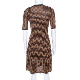 M Missoni Black and Gold Textured Lurex Knit A Line Dress S 198486