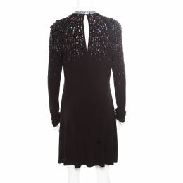 Just Cavalli Black Knit Multicolor Crystal Embellished Long Sleeve Dress M 174810