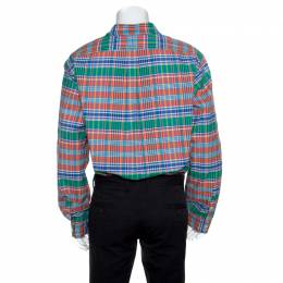 Ralph Lauren Multicolor Checked Cotton Logo Embroidered Slim Fit Shirt XXL 155641