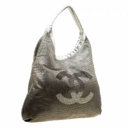Chanel Silver/Black Leather Hollywood CC Hobo 177889