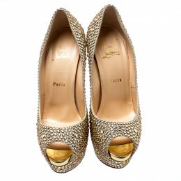 Christian Louboutin Metallic Suede And Crystal Embellished Burma Daffodile Peep Toe Platform Pumps Size 40 193459