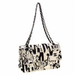 Chanel White/Black Sketch Canvas Karl Lagerfeld Limited Edition Classic Double Flap Bag 206458