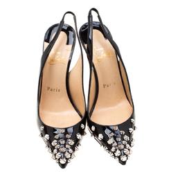 Christian Louboutin Black Patent Leather Drama Studded Slingback Sandals Size 35.5 208916