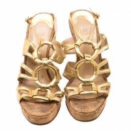 Christian Louboutin Metallic Gold Leather Ankle Strap Cork Wedge Platform Sandals Size 38 208923