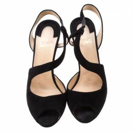 Christian Louboutin Black Suede Peep Toe Cross Strap Slingback Sandals Size 39 208926