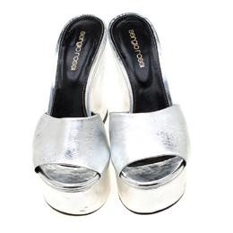 Sergio Rossi Metallic Silver Leather Lakeesha Wedge Slides Size 37.5 210383