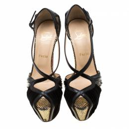 Christian Louboutin Black Patent Leather And Suede Cross Strap Platform Sandals Size 38 210499