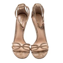 Gianvito Rossi Beige Suede Strappy Open Toe Sandals Size 41 210489