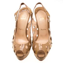 Christian Louboutin Beige Patent Leather Ginza Platform Slingback Sandals Size 38.5 210232