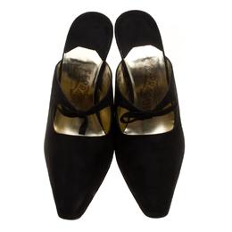 Salvatore Ferragamo Black Suede Anamur Pointed Toe Mules Size 38.5 143790