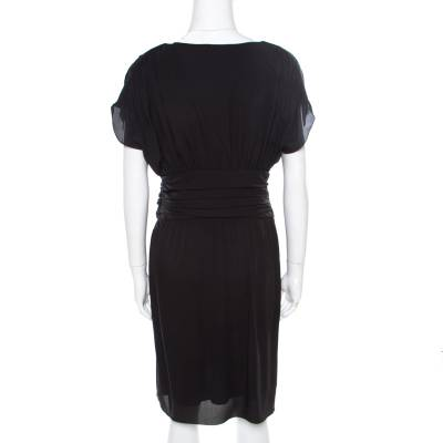 Valentino Black Silk Plunge Neck Buckle Detail Belted Dress M 186717 - 3
