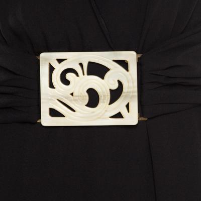 Valentino Black Silk Plunge Neck Buckle Detail Belted Dress M 186717 - 4