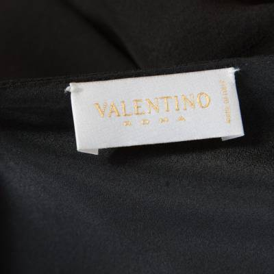 Valentino Black Silk Plunge Neck Buckle Detail Belted Dress M 186717 - 5