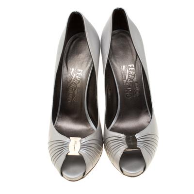 Salvatore Ferragamo Grey Leather Fiberia Peep Toe Pumps Size 40 187017 - 2