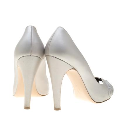 Salvatore Ferragamo Grey Leather Fiberia Peep Toe Pumps Size 40 187017 - 4