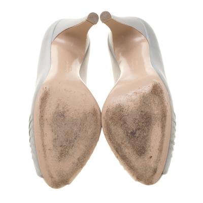 Salvatore Ferragamo Grey Leather Fiberia Peep Toe Pumps Size 40 187017 - 5