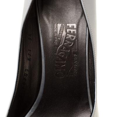 Salvatore Ferragamo Grey Leather Fiberia Peep Toe Pumps Size 40 187017 - 6