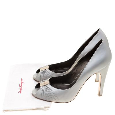 Salvatore Ferragamo Grey Leather Fiberia Peep Toe Pumps Size 40 187017 - 7