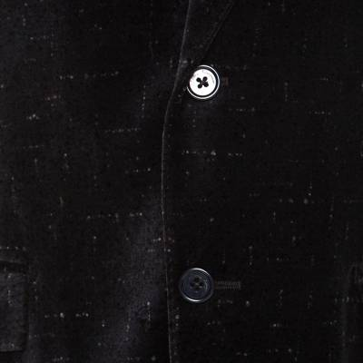 Salvatore Ferragamo Charcoal Grey Printed Velvet Blazer XL 186178 - 4