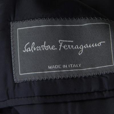 Salvatore Ferragamo Charcoal Grey Printed Velvet Blazer XL 186178 - 5