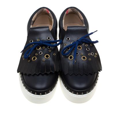 Burberry Navy Blue Leather Kiltie Fringe Slip On Sneakers Size 37 184120 - 2